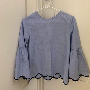 zara flower/flowy sleeve blue blouse